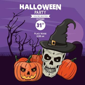Cartão de convite de festa de halloween