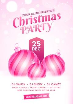 Cartão de convite de festa de natal com enfeites e detalhes do evento no efeito bokeh nevado.