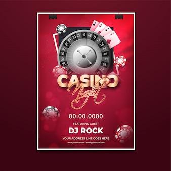 Cartão de convite de festa de noite de cassino ou modelo com roleta, cartas de jogar e fichas de pôquer no efeito de luz vermelha com detalhes do local.