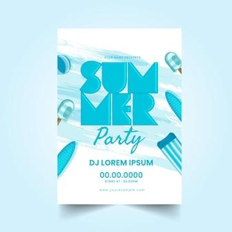 Cartão de convite de festa de verão com detalhes do evento e elementos de praia.