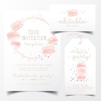 Cartão de convite de festa doce macaroons