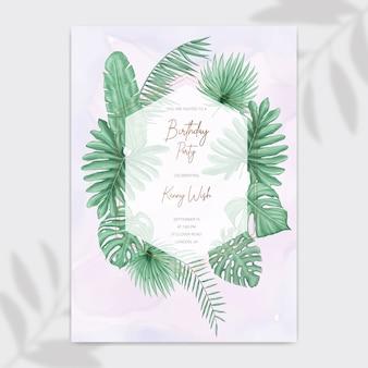 Cartão de convite de festa feliz aniversário com moldura de folhas tropicais