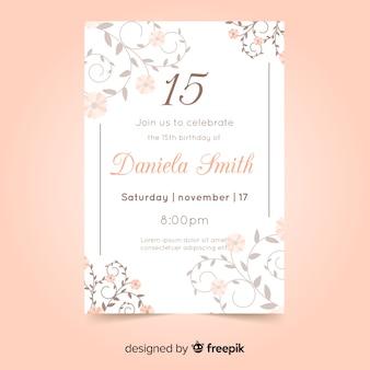 Cartão de convite de festa quinceañera