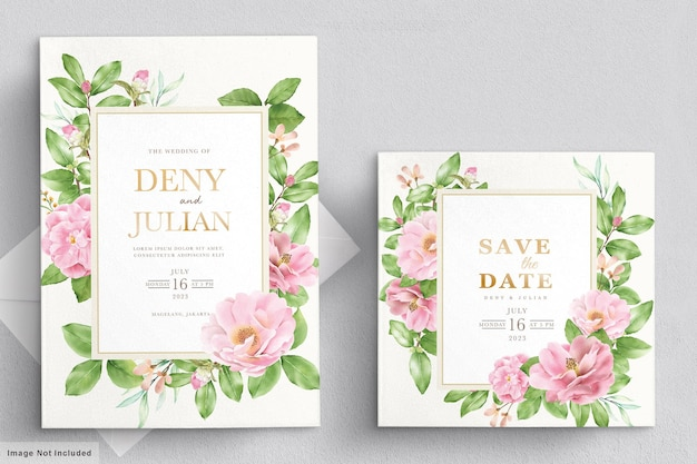 Cartão de convite de flores de camélia em aquarela