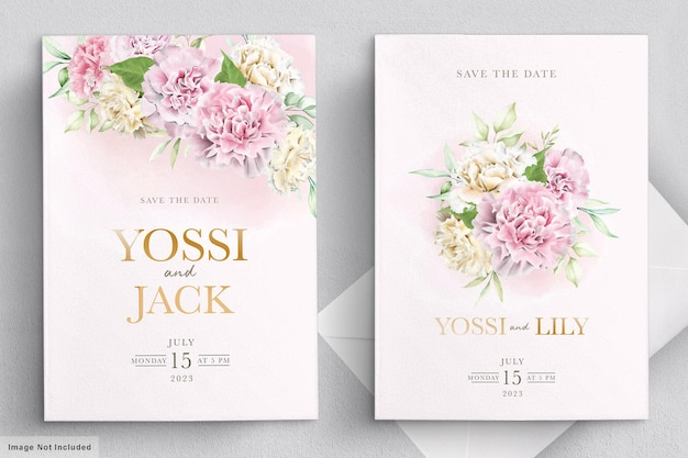 Cartão de convite de flores de cravo