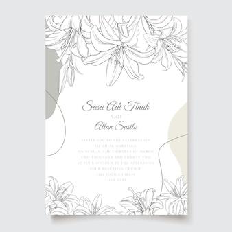 Cartão de convite de flores de lírio floral lindo