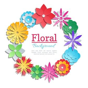Cartão de convite de flores de papel origami. banner com ilustração de origami colorido de papel