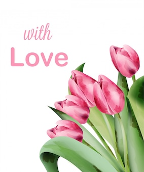 Cartão de convite de flores em aquarela tulipa rosa com lugar para texto