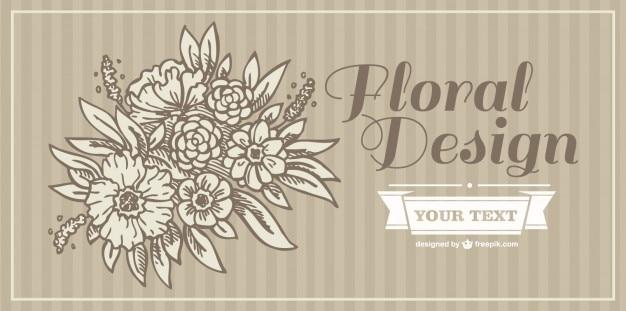 Cartão de convite de flores sépia