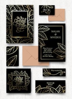 Cartão de convite de folhas douradas