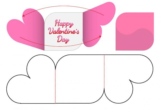 Cartão de convite de forma de coração die cut template