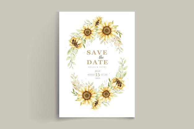 Cartão de convite de girassol aquarela elegante