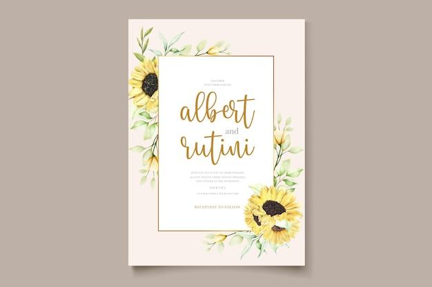 Cartão de convite de girassol em aquarela