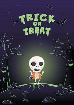 Cartão de convite de halloween. monstro de fantasia de halloween no cemitério.