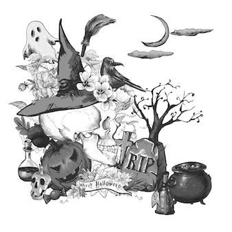 Cartão de convite de halloween preto e branco com crânio