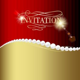 Cartão de convite de jóias.