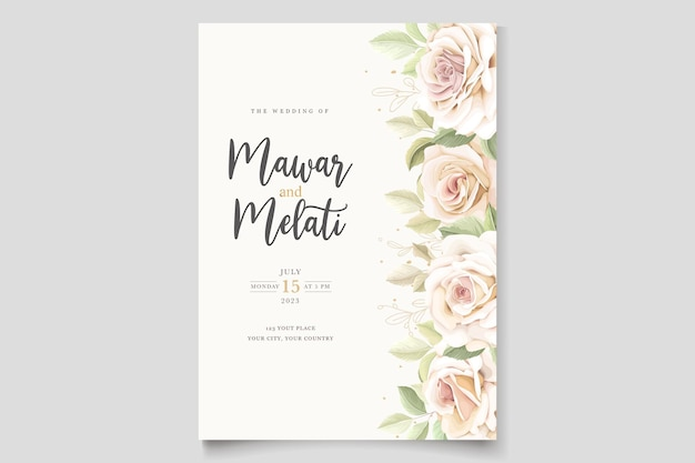 Cartão de convite de lindas rosas macias