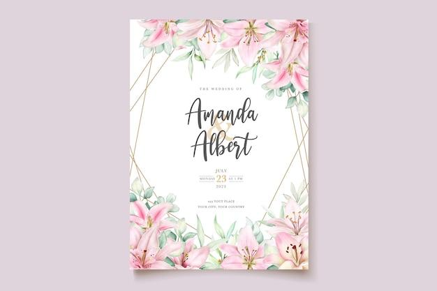 Cartão de convite de lírio aquarela