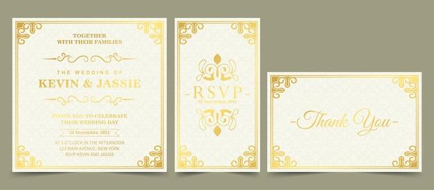 Cartão de convite de luxo com estilo de ornamento de moldura