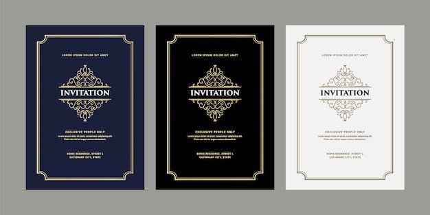 Cartão de convite de luxo real antigo estilo retro