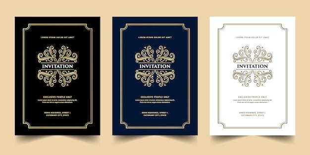 Cartão de convite de luxo real antigo ouro estilo retro dourado