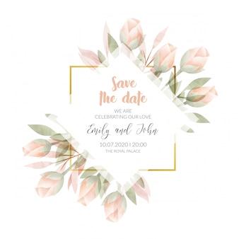 Cartão de convite de moldura floral aquarela