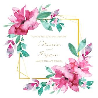 Cartão de convite de moldura floral casamento