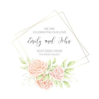 Cartão de convite de moldura floral em aquarela