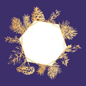 Cartão de convite de natal e ano novo moldura dourada. mão-extraídas ilustração vetorial de coroa de flores retrô sobre fundo claro. coleção de férias de inverno