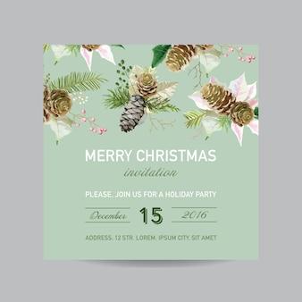 Cartão de convite de natal - em estilo aquarela