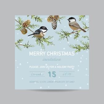 Cartão de convite de natal - pássaros de inverno em estilo aquarela
