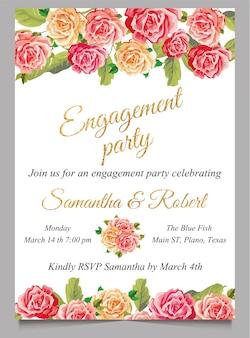 Cartão de convite de noivado com flor e ouro