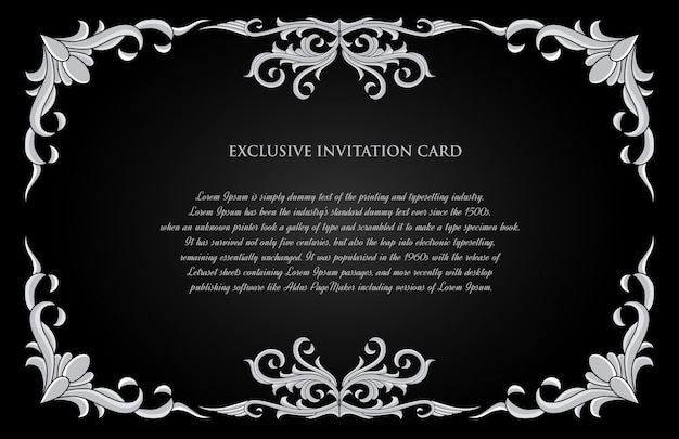 Cartão de convite de ornamento de ouro decorativo com fundo preto