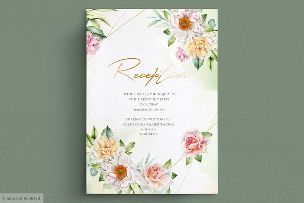 Cartão de convite de peônias e rosas em aquarela