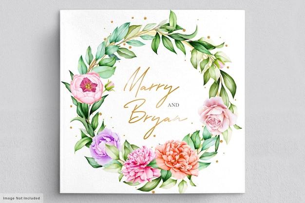 Cartão de convite de peônias em aquarela românticas