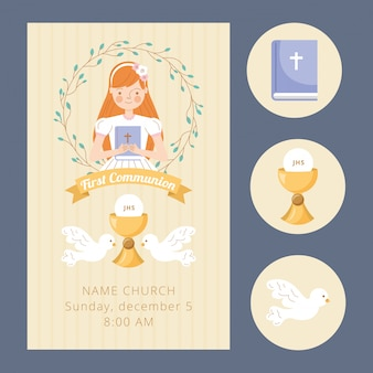 Cartão de convite de primeira comunhão