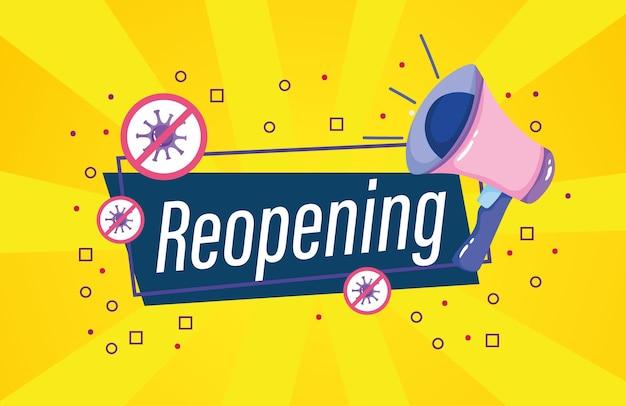 Cartão de convite de reabertura com ilustração de megafone