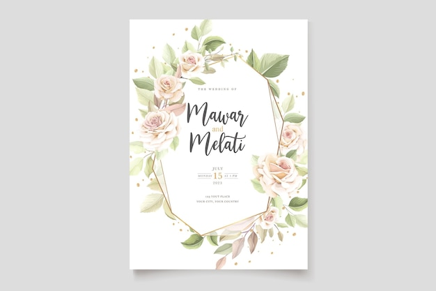 Cartão de convite de rosas desenhadas à mão elegante