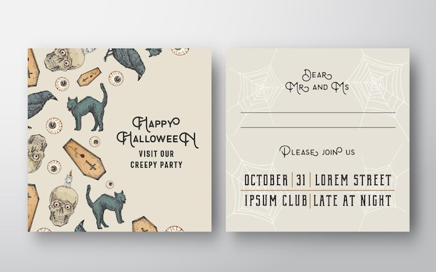 Cartão de convite de vetor abstrato de halloween com sculls, gatos, caixões, olhos e velas