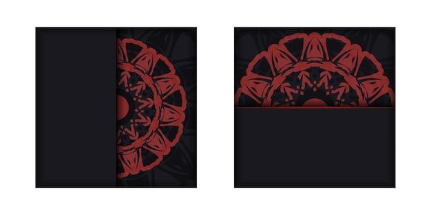 Cartão de convite de vetor com lugar para o seu texto e ornamento. vector design de cartão postal de cores pretas com padrões gregos.