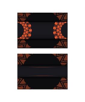 Cartão de convite de vetor com lugar para o seu texto e padrões abstratos. design luxuoso de cartão postal pronto para imprimir em preto com padrões laranja.