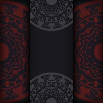 Cartão de convite de vetor com lugar para o seu texto e padrões de luxo. design de postal pronto a imprimir em preto com motivos gregos.