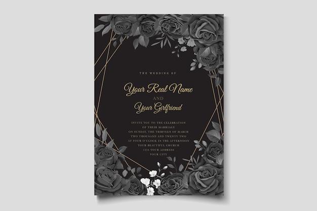 Cartão de convite desenhado à mão com rosas negras