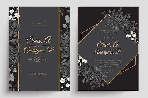 Cartão de convite desenhado à mão com rosas negras Vetor grátis