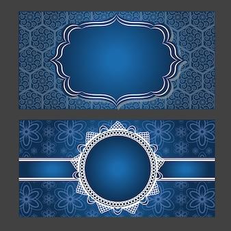 Cartão de convite design vintage com padrão de mandala em fundo roxo