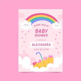 Cartão de convite do chá de bebê de chuva de amor desenhado à mão