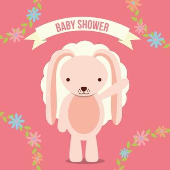 Cartão de convite do chuveiro de bebê coelho rosa decoração floral