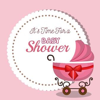 Cartão de convite do chuveiro de bebê com design rosa de carruagem