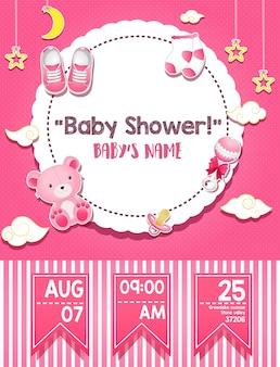 Cartão de convite do chuveiro de bebê para menina