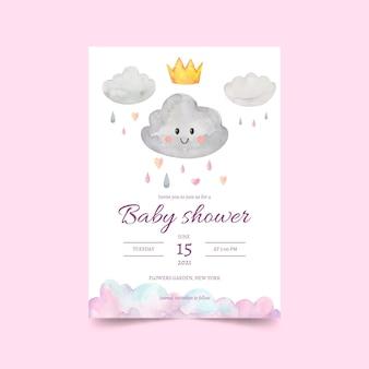 Cartão de convite do chuveiro de bebê pintado à mão chuva de amor